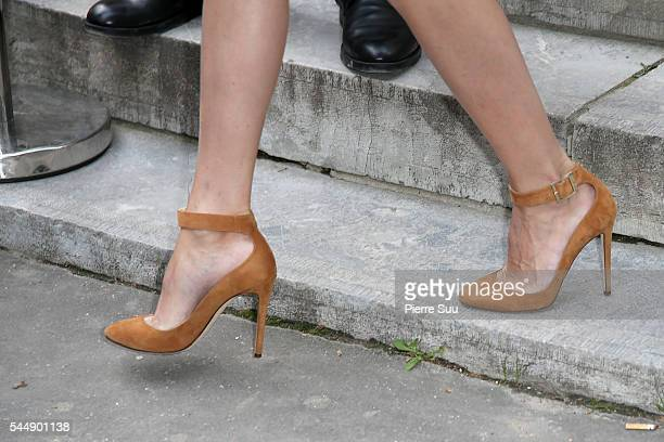 Olivia Palermo shoe detail arrives at the Giambattista Valli Haute Couture Fall/Winter 20162017 show as part of Paris Fashion Week on July 4 2016 in...