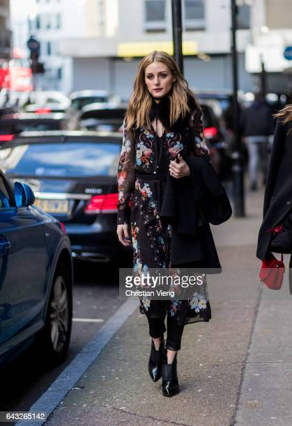 Olivia Palermo wearing a dress with floral print outside Erdem on day 4 of the London Fashion Week February 2017 collections on February 20 2017 in...