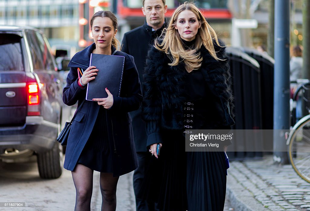 Olivia Palermo wearing a fur jacket seen outside Christopher Kane during London Fashion Week Autumn/Winter 2016/17 on February 22, 2016 in London, England, United Kingdom.