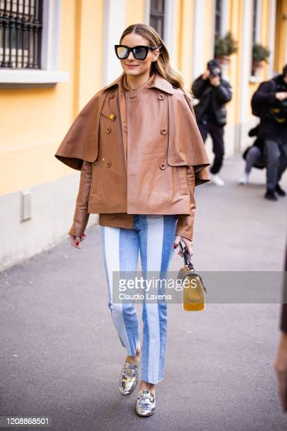 Olivia Palermo, wearing a striped jeans, brown leather jacket, silver Tod's loafers and Tod's bag, is seen outside Tod's show, during Milan Fashion...