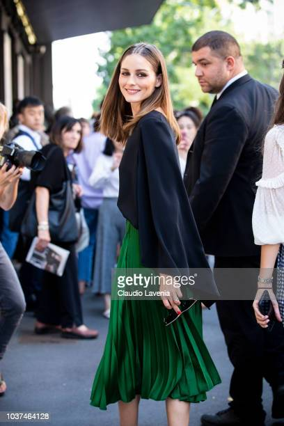 Olivia Palermo wearing black jacket and green skirt is seen before the Etro show during Milan Fashion Week Spring/Summer 2019 on September 21 2018 in...