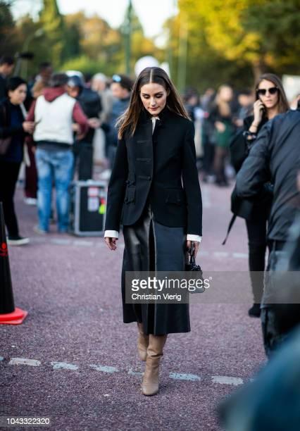 Olivia Palermo wearing leather skirt black jacket is seen outside Hermes during Paris Fashion Week Womenswear Spring/Summer 2019 on September 29 2018...