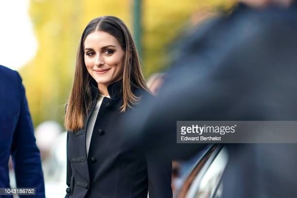 Olivia Palermo wears a black jacket and a black dress, outside Hermes, during Paris Fashion Week Womenswear Spring/Summer 2019, on September 29, 2018...
