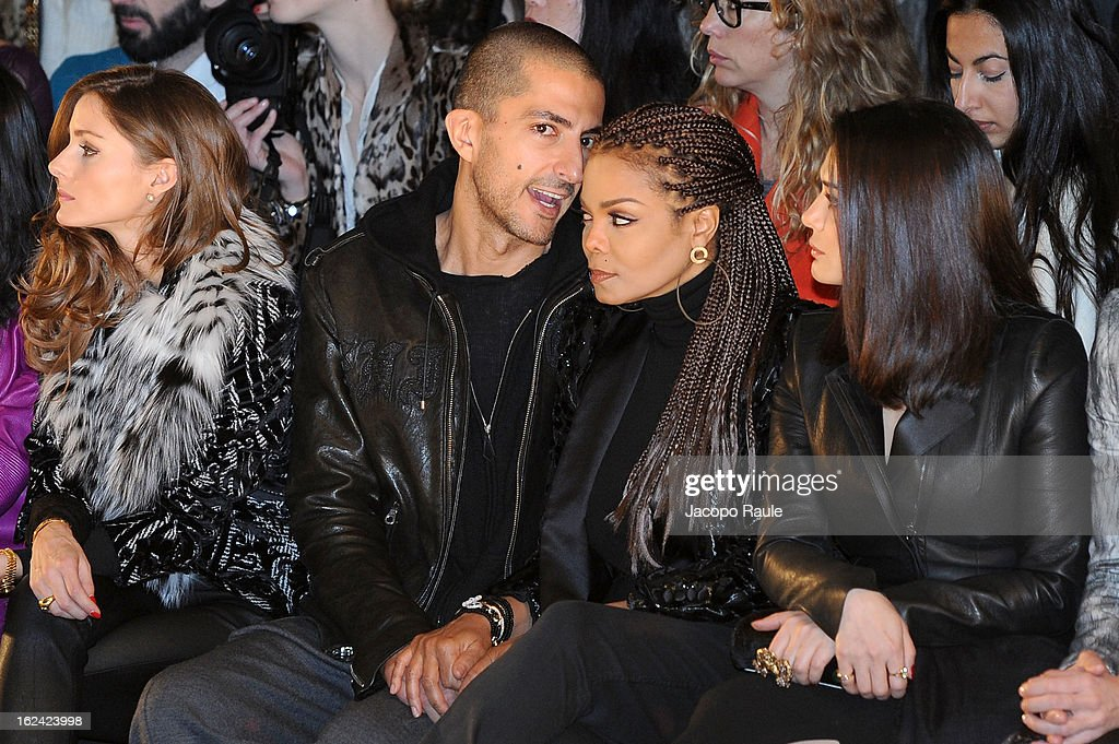 Olivia Palermo, Wissam al Mana, Janet Jackson and Preity Zinta attend the Roberto Cavalli fashion show as part of Milan Fashion Week Womenswear Fall/Winter 2013/14 on February 23, 2013 in Milan, Italy.