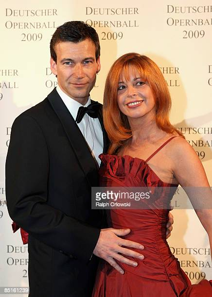 Olivia Pascal and Peter Kanitz arrive for the German Opera Ball 2009 at the Alte Oper on February 28 2009 in Frankfurt Germany