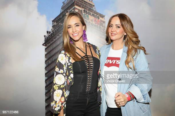 Olivia Peralta and Andrea Legarreta attend the Levi's Flagship Madero store opening at historical center streets on March 22 2018 in Mexico City...