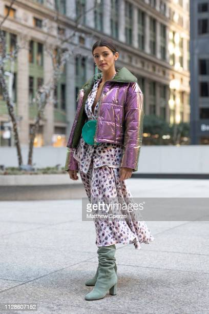 Olivia Perez is seen on the street during New York Fashion Week AW19 wearing Longchamp with leopard print dress on February 09 2019 in New York City