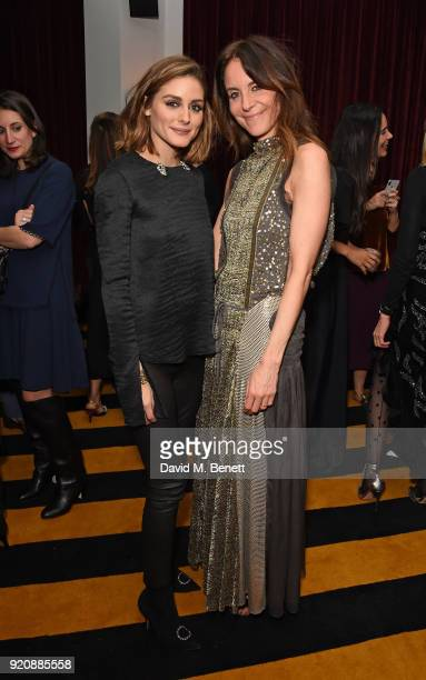 Olivia Plaermo and Alison Loehnis attend a cocktail party in honour of Alison Loehnis' 10 year anniversary at NETAPORTER on February 19 2018 in...