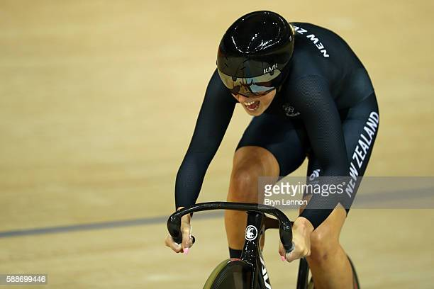 Olivia Podmore of Team New Zealand competes in the Women's Team Sprint Qualifying on Day 7 of the Rio 2016 Olympic Games at the Rio Olympic Velodrome...