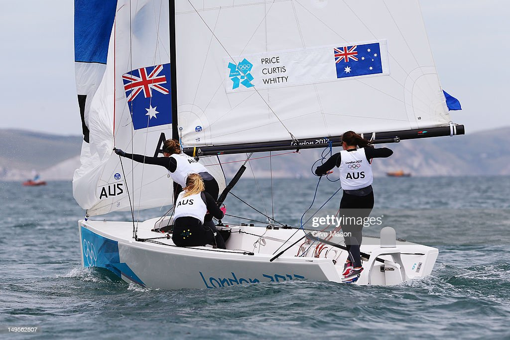 Olivia Price, Nina Curtis and Lucinda Whitty of Australia compete in the Women's Elliott 6m WMR Sailing on Day 3 of the London 2012 Olympic Games at Weymouth Harbour on July 30, 2012 in Weymouth, England.