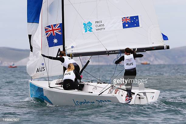 Olivia Price Nina Curtis and Lucinda Whitty of Australia compete in the Women's Elliott 6m WMR Sailing on Day 3 of the London 2012 Olympic Games at...