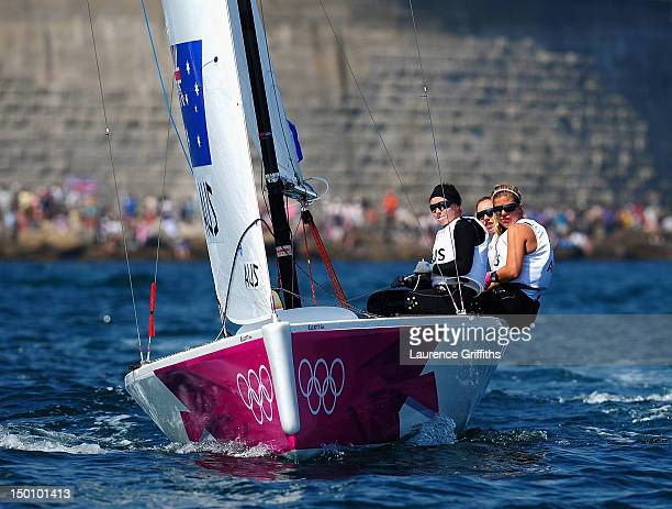 Olivia Price Nina Curtis and Lucinda Whitty of Australia compete in the Women's Elliott 6m WMR Sailing on Day 14 of the London 2012 Olympic Games at...