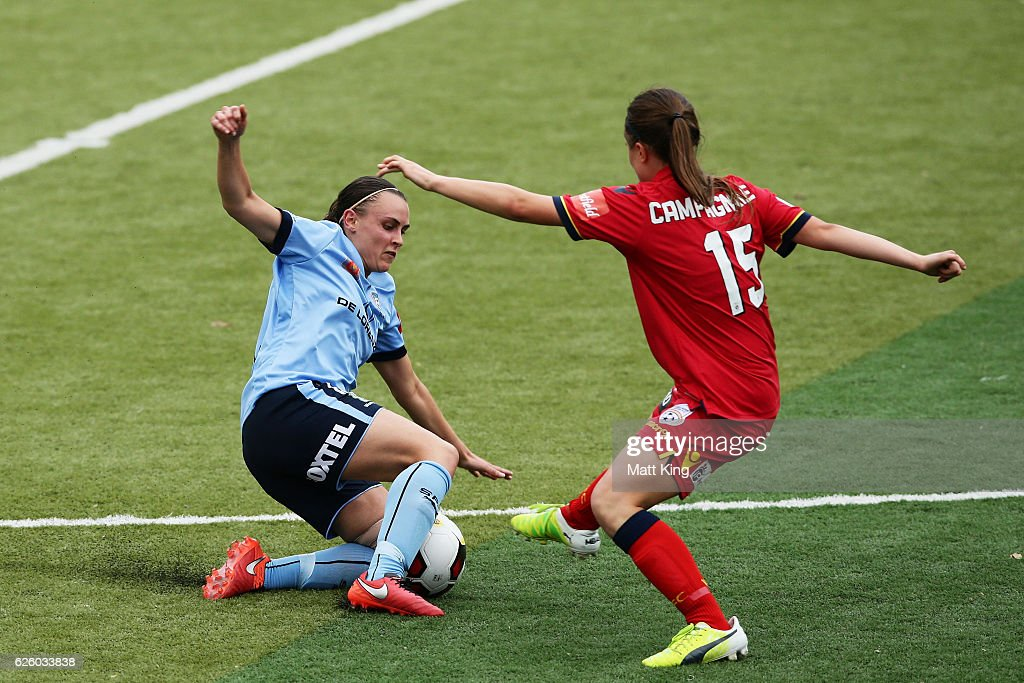 Olivia Price of Sydney FC is challenged by Georgia Campagnale of United during the round four W-League match between Sydney FC and Adelaide United at Seymour Shaw on November 27, 2016 in Sydney, Australia.