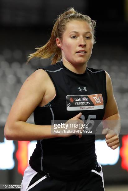 Olivia Purcell performs in the 2km time trial during the AFLW Draft Combine at Marvel Stadium on October 3 2018 in Melbourne Australia