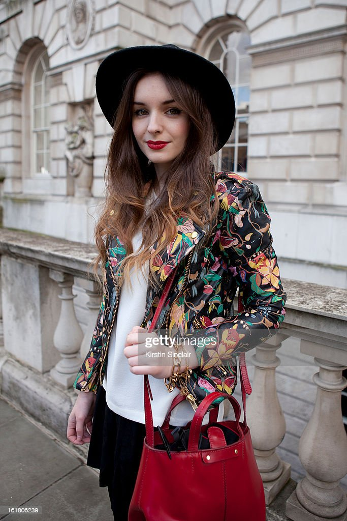 Olivia Purivis blogger and fashion journalist wearing a Top shop jacket and; Zara bag on day 1 of London Womens Fashion Week Autumn/Winter 2013 on February 15; 2013 in London; England.