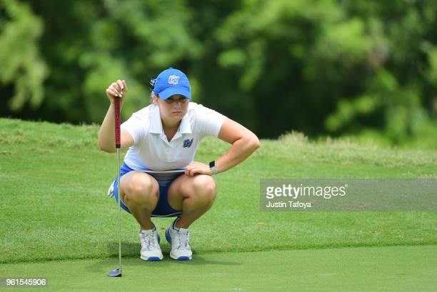 Olivia Reed of Grand Valley State looks at a putt during the Division II Women's Golf Championship held at Bay Oaks Country Club on May 19 2018 in...