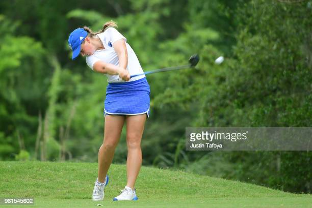 Olivia Reed of Grand Valley State tees off during the Division II Women's Golf Championship held at Bay Oaks Country Club on May 19 2018 in Houston...