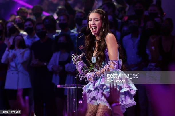 Olivia Rodrigo accepts award for Song Of The Year onstage during the 2021 MTV Video Music Awards at Barclays Center on September 12, 2021 in the...