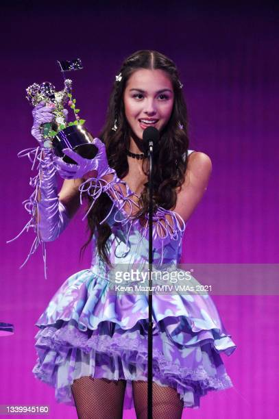 Olivia Rodrigo accepts the Song of the Year award for 'Drivers License' onstage during the 2021 MTV Video Music Awards at Barclays Center on...