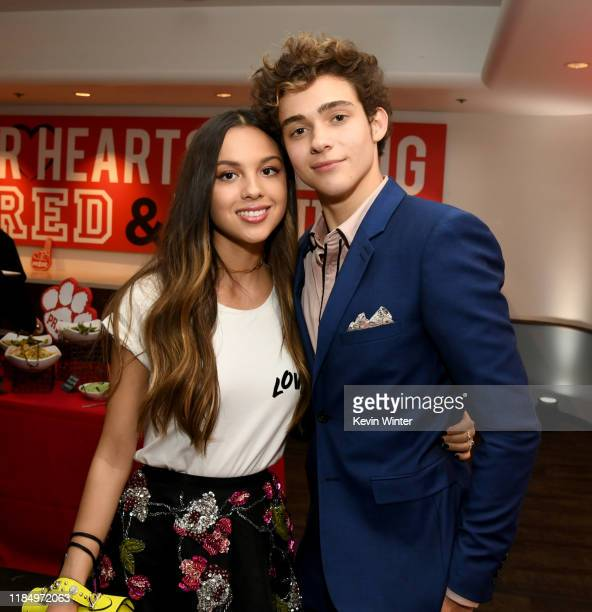 "Olivia Rodrigo and Joshua Bassett pose at the after party for the premiere of Disney+'s ""High School Musical: The Musical: The Series"" at the Walt..."
