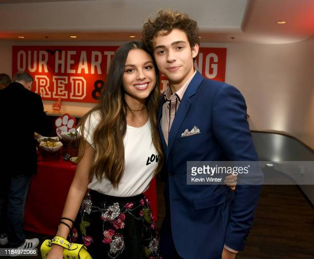 Olivia Rodrigo and Joshua Bassett pose at the after party for the premiere of Disney's High School Musical The Musical The Series at the Walt Disney...