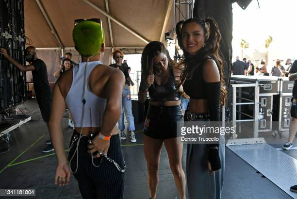 Olivia Rodrigo is seen backstage at the Daytime Stage at the 2021 iHeartRadio Music Festival at AREA15 on September 18, 2021 in Las Vegas, Nevada....