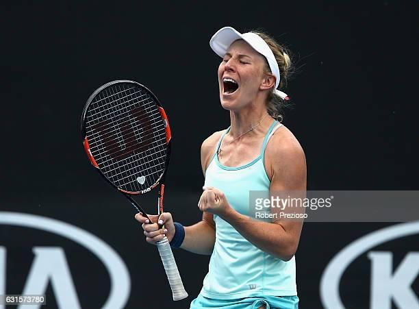 Olivia Rogowska of Australia celebrates a win in her 2017 Australian Open Qualifying match against Mihaela Buzarnescu of Romania at Melbourne Park on...
