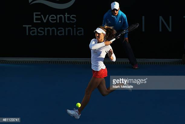 Olivia Rogowska of Australia hits a forehand in her second round match against Bojana Jovanovski of Serbia during day three of the Moorilla Hobart...