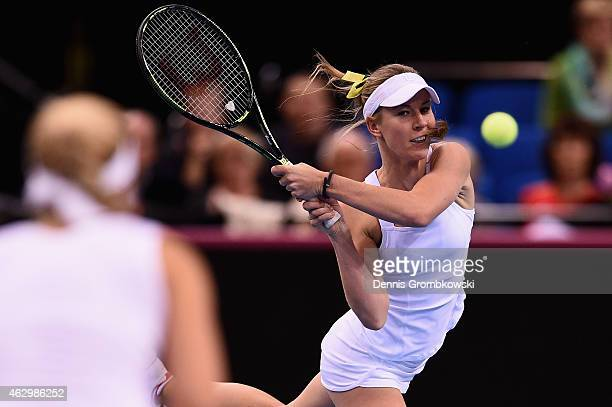 Olivia Rogowska of Australia in action during the Fed Cup 2015 World Group First Round tennis between Germany and Australia at PorscheArena on...