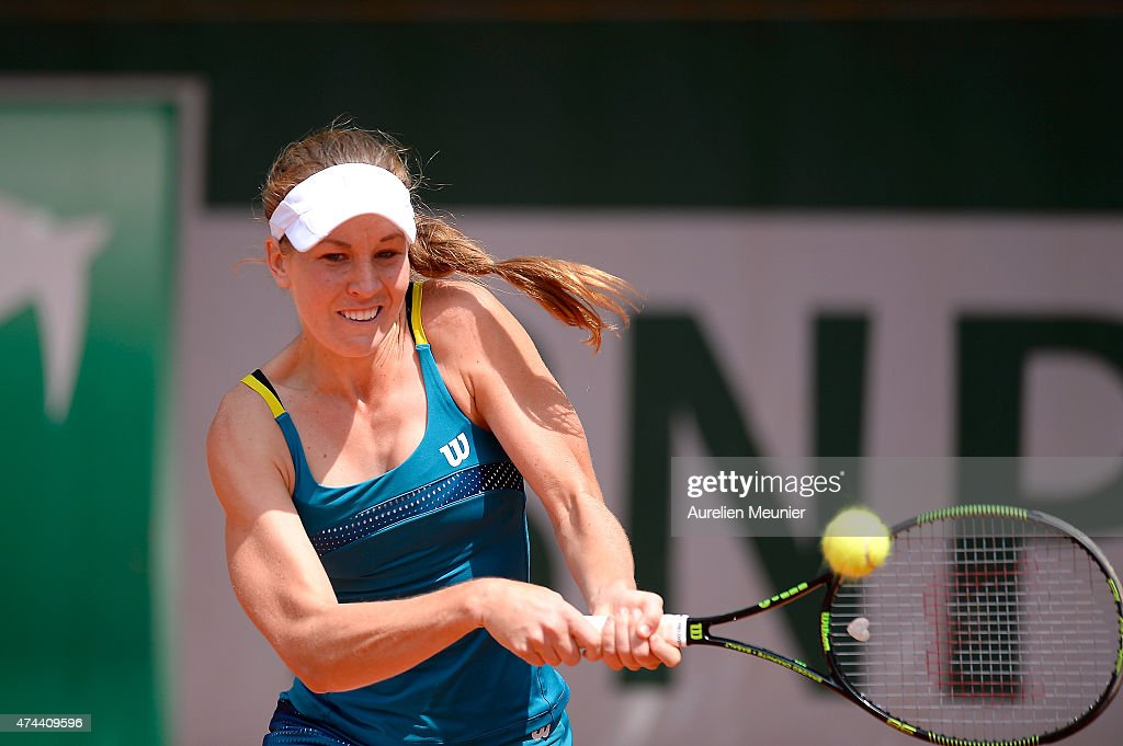 Olivia Rogowska of Australia in action during the women's singles third round qualifying match against Beatriz Haddad Maia of Brazil at Roland Garros on May 22, 2015 in Paris, France.