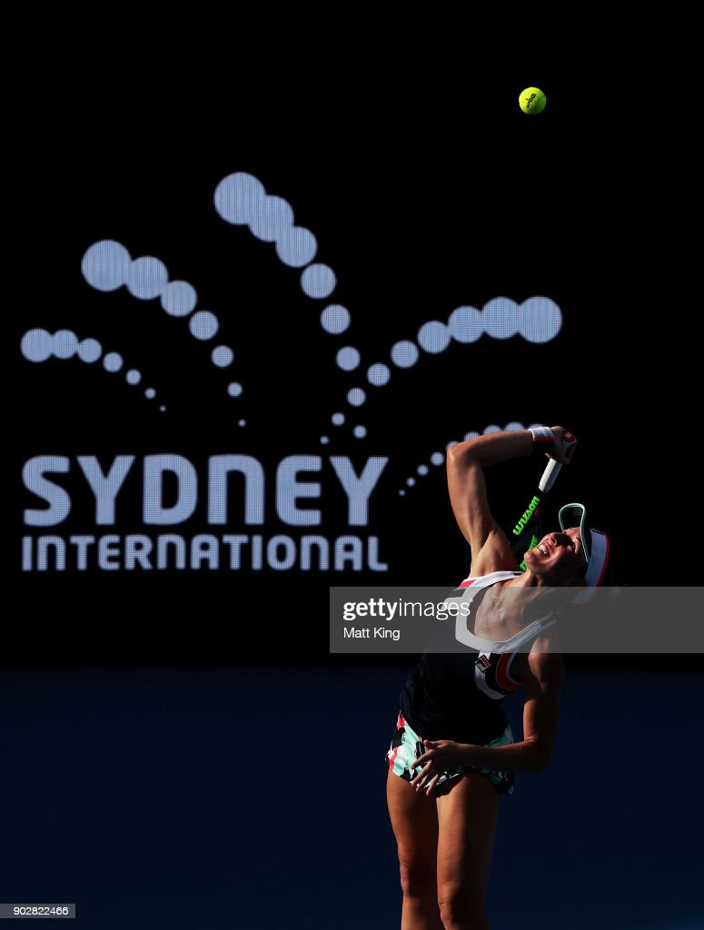Olivia Rogowska of Australia serves in her 1st round match against Daria Gavrilova of Australia during day three of the 2018 Sydney International at Sydney Olympic Park Tennis Centre on January 9, 2018 in Sydney, Australia.