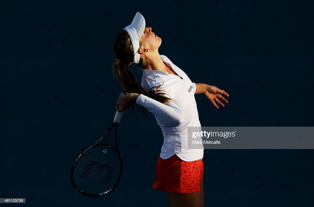 Olivia Rogowska of Australia serves in her second round match against Bojana Jovanovski of Serbia during day three of the Moorilla Hobart International at Domain Tennis Centre on January 7, 2014 in Hobart, Australia.