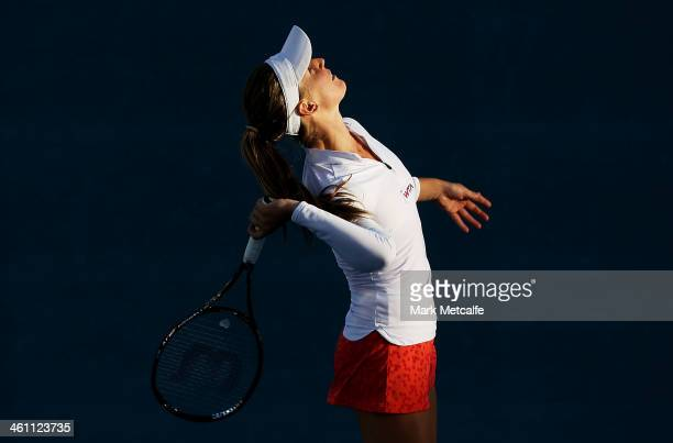 Olivia Rogowska of Australia serves in her second round match against Bojana Jovanovski of Serbia during day three of the Moorilla Hobart...