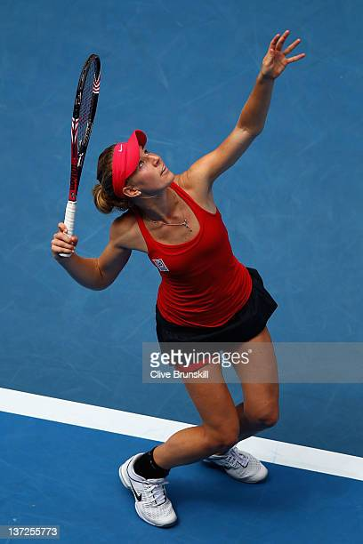 Olivia Rogowska of Belgium serves in her second round match against Li Na of China during day three of the 2012 Australian Open at Melbourne Park on...