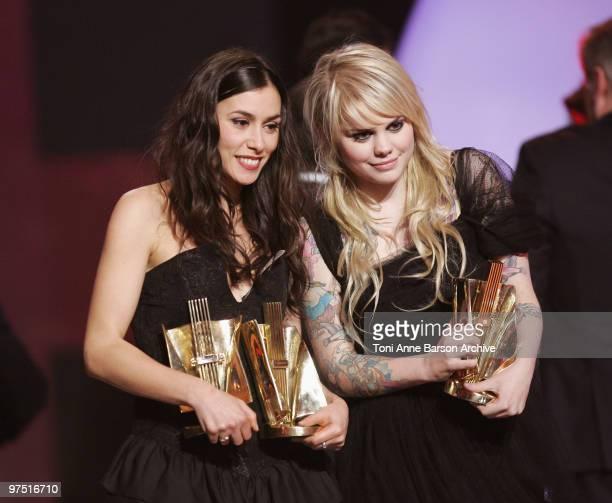 Olivia Ruiz and Coeur de Pirate pose with awards during the 25th Victoires de la Musique at Zenith de Paris on March 6, 2010 in Paris, France.