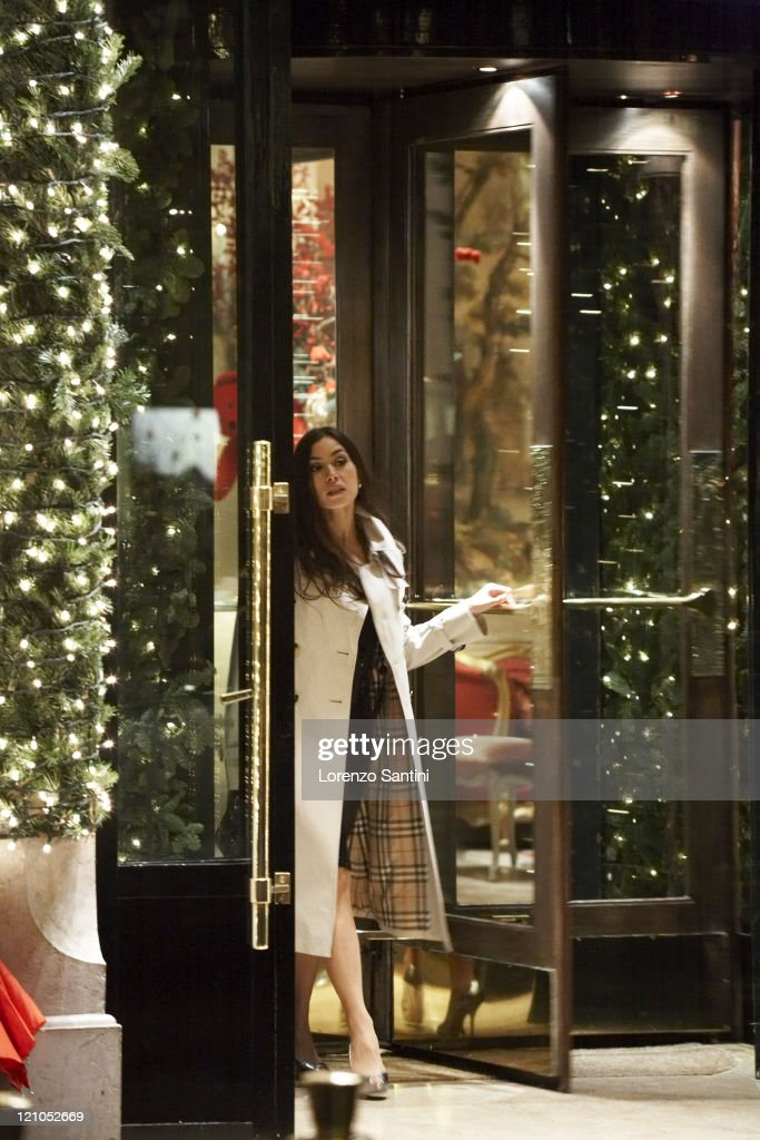 Olivia Ruiz Posing for Fashion Shoot in Front of Plaza-Athenee of Paris