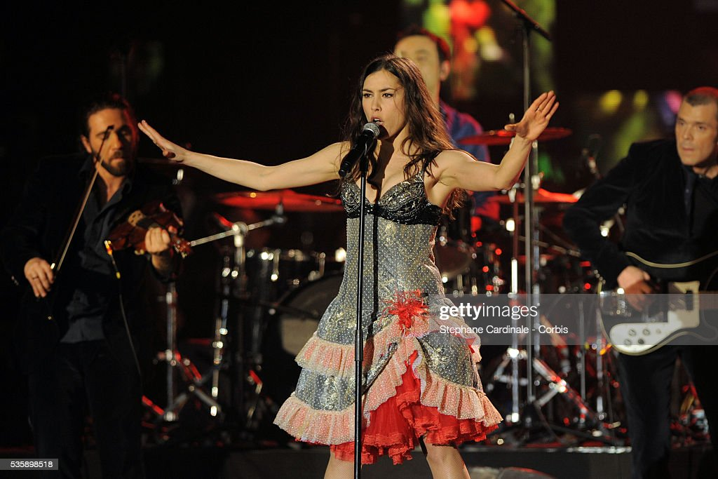Olivia Ruiz performs at the '25th Victoires de la Musique' ceremony, held at the Zenith in Paris.