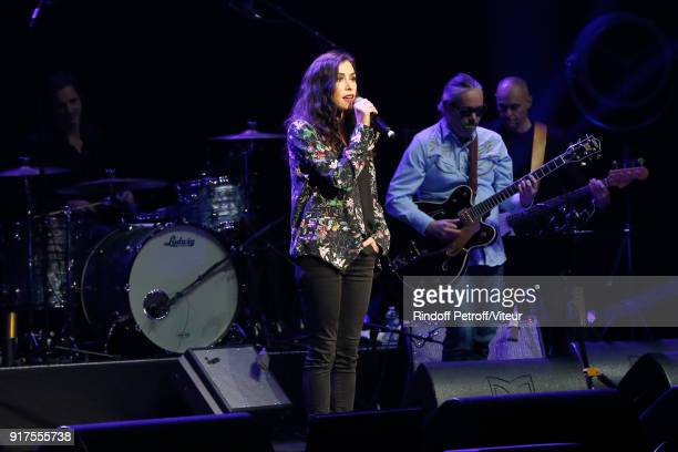 Olivia Ruiz performs during the Charity Gala against Alzheimer's disease at Salle Pleyel on February 12 2018 in Paris France