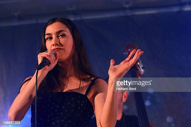Olivia Ruiz performs live on the 'BHV Homme' stage after she launched the Christmas Illuminations at Bazar de l'Hotel de Ville on November 17, 2010...