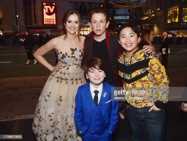 Olivia Sanabia Dakota Lotus Albert Tsai and Paxton Booth attend the World Premiere of Disney's 'Dumbo' at the El Capitan Theatre on March 11 2019 in...