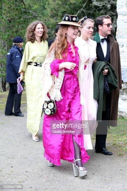 Olivia Schuler during the wedding of Prince Konstantin of Bavaria and Princess Deniz of Bavaria born Kaya at the french church 'Eglise au Bois' on...
