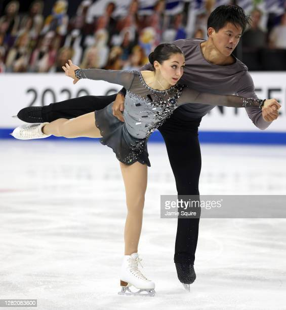 Olivia Serafini and Mervin Tran of the USA compete in the Pairs Free Skating program during the ISU Grand Prix of Figure Skating at the Orleans Arena...