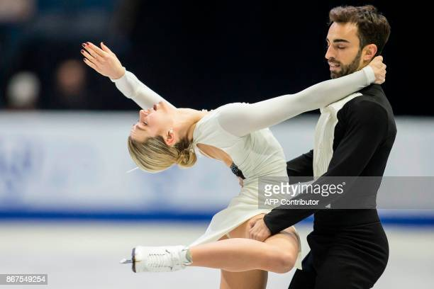 Olivia Smart and Adria Diaz of Spain perform their free dance in the dance competition at the 2017 Skate Canada International ISU Grand Prix event in...