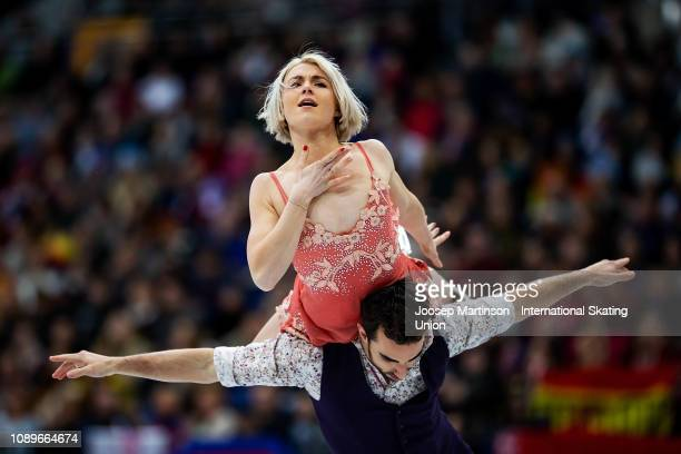 Olivia Smart and Adrian Diaz of Spain compete in the Ice Dance Free Dance during day four of the ISU European Figure Skating Championships at Minsk...