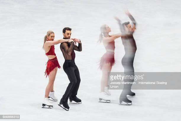 Olivia Smart and Adrian Diaz of Spain compete in the Ice Dance Short Dance during day two of the World Figure Skating Championships at Mediolanum...