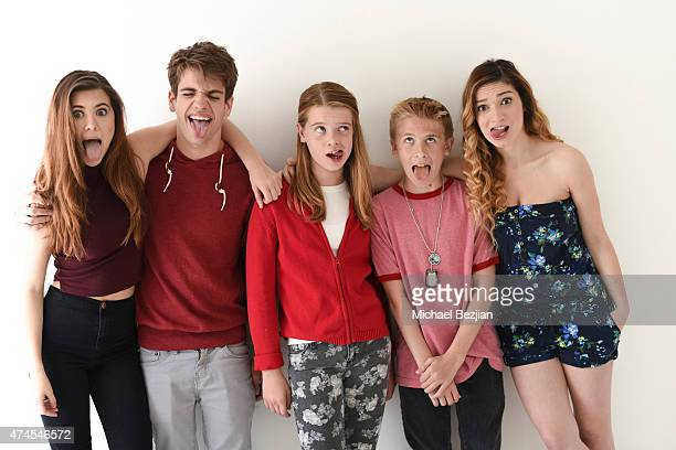Olivia Stuck, Brandon Tyler Russell; Delaney Raye; Xander Russell and Sydney Meyer pose for portrait at The SAP The Starving Artists Project on May...