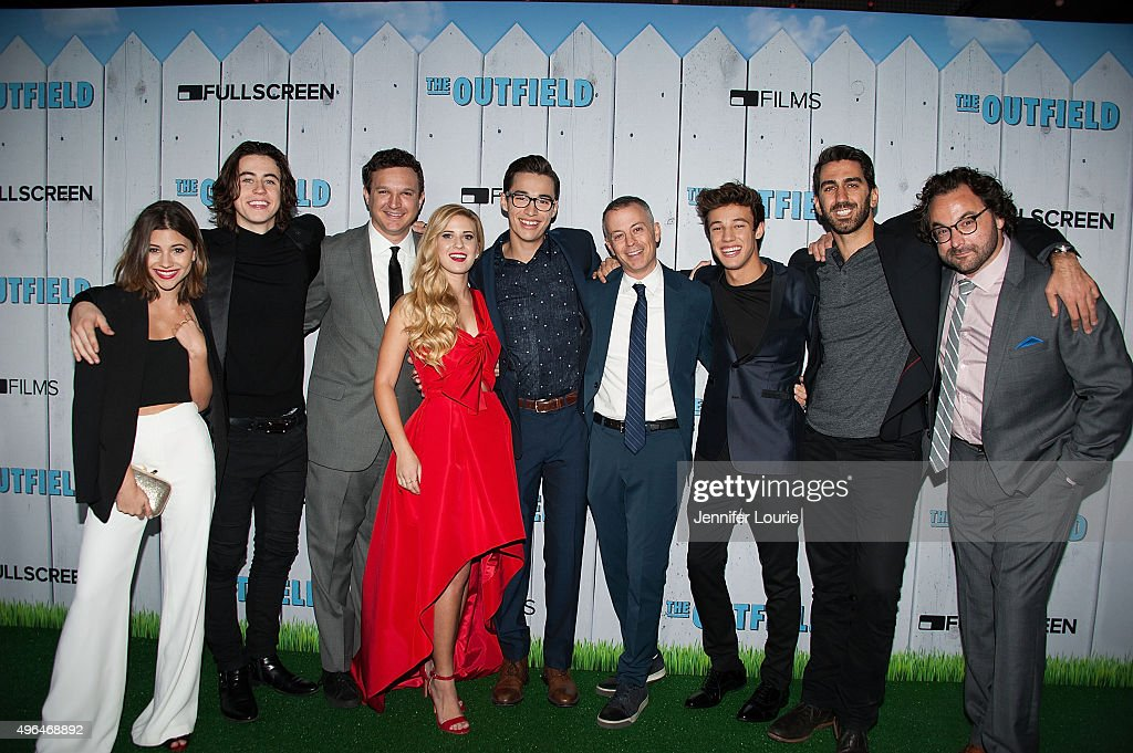 Olivia Stuck, Nash Grier, Gil Kruger, Caroline Sunshine, Joey Bragg, Michael Goldfine, Cameron Dallas, George Strompolos, and Eli Gonda arrive at the Fullscreen Films presents the premiere of 'The Outfield' at AMC CityWalk Stadium 19 at Universal Studios Hollywood on November 9, 2015 in Universal City, California.