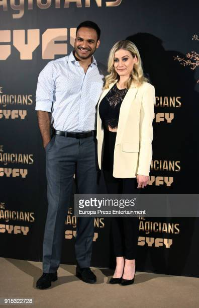Olivia Taylor Dudley and Arjun Gupta attend 'The Magicians' photocall on February 7 2018 in Madrid Spain
