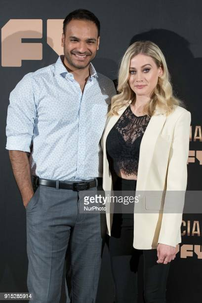 Olivia Taylor Dudley and Arjun Gupta attend the third season of 'The Magicians' photocall at Santo Mauro Hotel in Madrid on Feb 7 2018