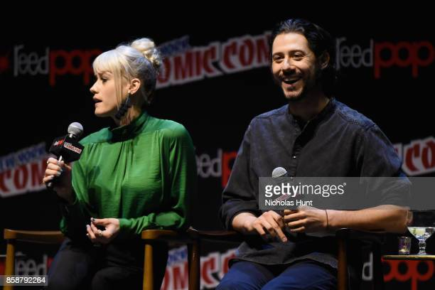 Olivia Taylor Dudley and Hale Appleman speak at The Magicians Panel during 2017 New York Comic Con Day 3 on October 7 2017 in New York City